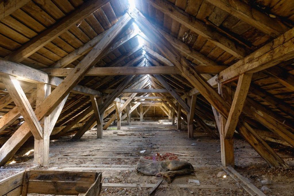 Light shining through the attic